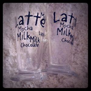 GLASS LATTE MOCHA CHOCOLATE MILK GLASSES